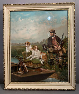 Ca1900 Antique EDWARDIAN HUNT LODGE Litho DUCK HUNTING Man & Dog Old CABIN PRINT