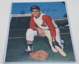 8 x 10 Photo Cleveland Indians 1960's Signed Vic Davalillo Sleeveless Uniforms
