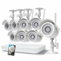 Zmodo 8CH NVR Home Surveillance System 8 WiFi 720p Camera Outdoor/Indoor 1TB HD