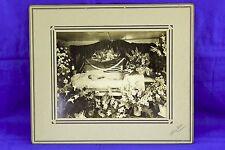 ANTIQUE POST MORTEM LARGE MATTED STUDIO PHOTO LADY IN OPEN CASKET