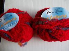 Vimar La Galleria wool blend boucle yarn, red/colors, lot of 2 (38 yds each)