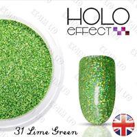 HOLO MERMAID EFFECT NAIL ART POWDER  Glitter Dust Fine Holographic Lime Green 31
