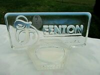 "Fenton Art Glass French Opalescent Logo Dealer Sign 5""L x 3""H Display Rectangle"
