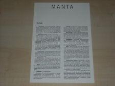 65839) Opel Manta B - technische Daten & Ausstattungen - Prospekt 07/1986