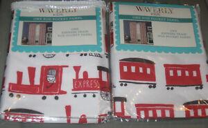 "Waverly Kids Express Train Window Curtain Panels Set Of 2 Panels 63"" L NEW"