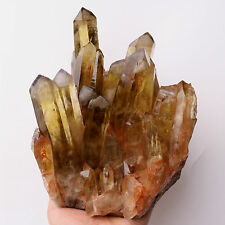 8.49lb Natural Clear Smoky Citrine Quartz Point Crystal Cluster Healing Mineral
