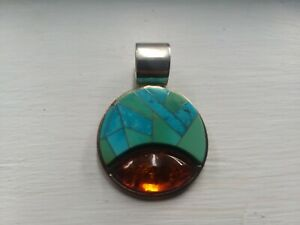 Jay King Turquoise Amber Sterling Inlay Pendant