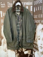 Men's Vintage Barbour Border Wax Jacket Green Hunting Large Chest 44 112CM