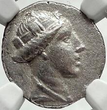 AMISOS in PONTUS 300BC RARE R1 Ancient Silver Greek Coin HERA OWL NGC AU i68161