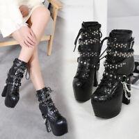 Platform Chain decor Lace up Rivet Block High Heels Ankle Boots Punk Women Shoes