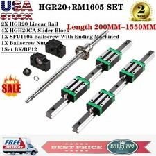 Hgr20 Linear Rail Set 2Pcs 200mm-1550mm 4X Blocks BallScrew Rm1605 Bf12/Bk12 Cnc