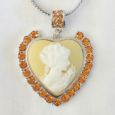 New Heart Silvertone Lady Cameo Love Crystal Charm Pendant Chain Necklace NE1243