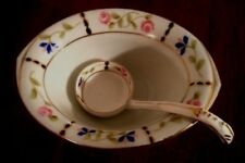 Vintage Mayonnaise Dish with Laddle / Spoon Gold Trim Lovely Rose Pattern