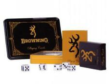 BROWNING Buckmark 2 DECK CARDS & 5 DIE DICE in GAME TIN Black Gold *NEW