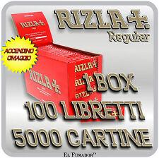 Cartine Rizla ROSSE Corte 5000 Fogli 1 Box 100 Libretti - RIZLA RED + ACCENDINO
