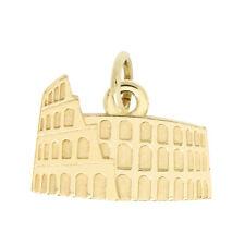 14Kt Yellow Gold Polished Rome Coliseum Roman Colosseum Charm Pendant