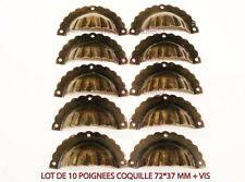 POIGNEE COQUILLE  LES 10 TIROIR MEUBLE ANCIEN DECORATION CASIER METIER 72MM
