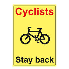 Cyclists RED Stay Back Beware Printed Sticker Warning Cyclist Sign (STKPN00050)