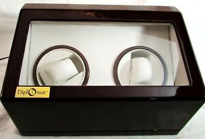 DIPLOMAT  Double Cherry Wood Dual Watch Winder