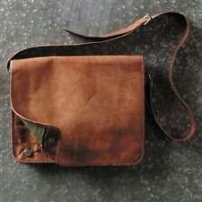 Bag Men Leather Goat Vintage Brown Laptop S Shoulder Messenger Briefcase Real