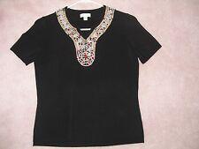 Biba Stunning Black Heavy Knit Short Sleeve Shirt With Multi Color Pearls - 42