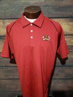Adidas Climacool Mens XL Extra Large Red Black Short Sleeve Golf Polo Shirt