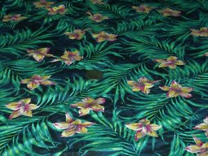 STRETCH VISCOSE JERSEY FLORAL-JUNGLE ORCHID-BLACK/GREEN/NAVY -DRESS FABRIC-