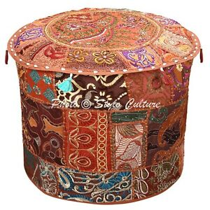 Ethnic Pouf Ottoman Cover Brown Furniture Patchwork Embroidered Round 18 Inch