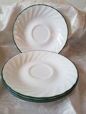 "4 Corelle Callaway Ivy Saucers Green Rim Swirl for Cups Corning 6 1/8"" Diameter"