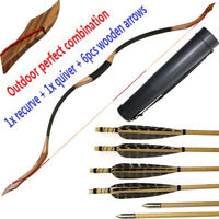 30-50lbs Archery Hunting Recurve Bow Longbow with 6pcs Wood Arrows and 1x Quiver