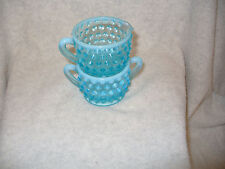 FENTON OPALESCENT Hobnail  Glass Mini CREAMER and SUGAR SET  Vintage