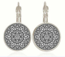 1 pair Mandala compass silver Trendy Glass cabochon 18 MM Lever Back Earrings
