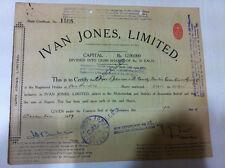 RARE IVAN JONES LTD STOCK CANCELLED SHARE CERTIFICATE RED EMBOSS REV 1939