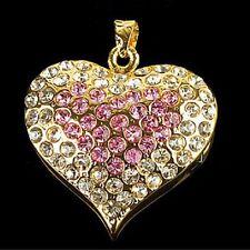USB CHIAVETTA 4 GB strass cuori catena ciondolo gioiello Coeur corazón ROSA