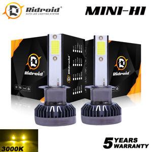 2x Mini H1 LED Headlight Bulb High Low Beam 3000K Golden Yellow Conversion Kits