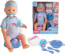 Simba New Born Baby Puppe Junge mit Funktionen 43 cm Blau Babypuppe Jungenpuppe