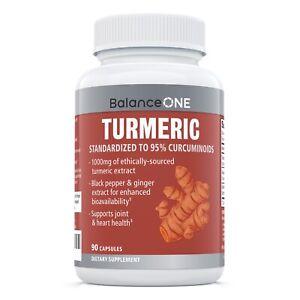 Balance ONE Turmeric Extract, Vegan, Maximum Strength Curcumin, 30 Day Supply