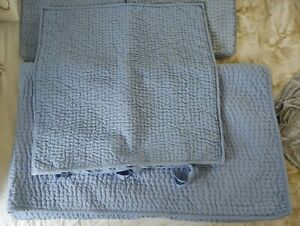 Pottery Barn Pick Stitch Twin quilt and Euro Sham French Blue Custom Modified