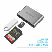 LENTION 3 Ports OTG USB-C to USB 3.0 Adapter SD Card Reader for New iPad Pro