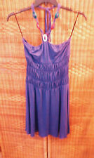 IODICE Women's Halter Dress SIZE M 8/10 PURPLE Beaded Ties Ruched Elastic M NWTS
