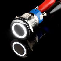 19mm 12V Auto KFZ Schalter Drehschalter Momentan LED Beleuchtet Weiß
