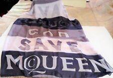"""ALEXANDER McQUEEN GOD SAVE McQUEEN 100% SILK SCARF NAVY OFF WHITE 76""""x 53"""" NWT"""