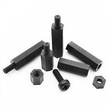 25/50pc M2M2.5M3M4 Black Plastic Nylon Hex Column Standoff Spacer Phillips Screw