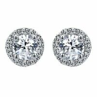 White Sapphire Halo Scallop Stud Earrings ~ Solid Sterling Silver - 1.5 ct.