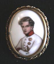 ancienne broche porcelaine Limoges peinte laiton l'aiglon Napoléon 2 XIX ème