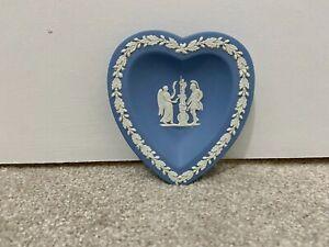 Wedgwood Jasperware Blue Knight With Angel Heart Shaped Pin Trinket Dish Vintage