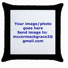 YOUR PHOTO/IMAGE ON PERSONALIZED BLACK cushion cover Throw pillow