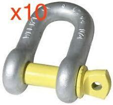 D SHACKLE / BOW SHACKLES WLL1T 1 TONNE x 10 YELLOW PIN GRADE S Tow Bar Hayman