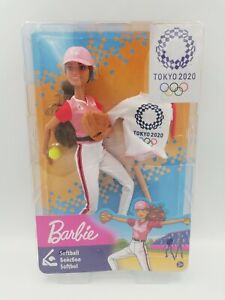 Barbie TOKYO 2020 Softball Baseball Brunette Doll #GJL77