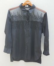 VINTAGE JAG 80s 90s Shirt Top Sz L Womens Black Sheer Embroidered Button Front